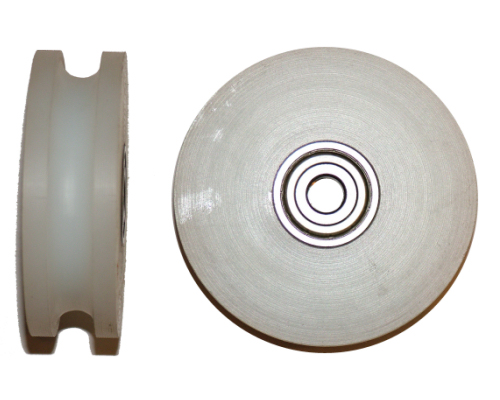A Single 10mm aerial runway trolley wheel with bearing