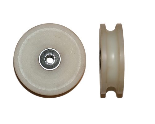 A Single 6mm aerial runway trolley wheel with bearing